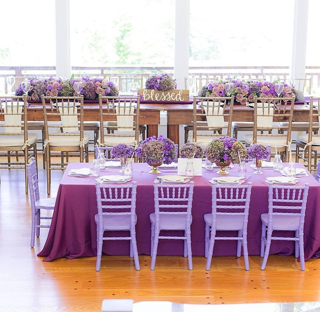 We sprayed our chairs a lavender color for this Baptism.
