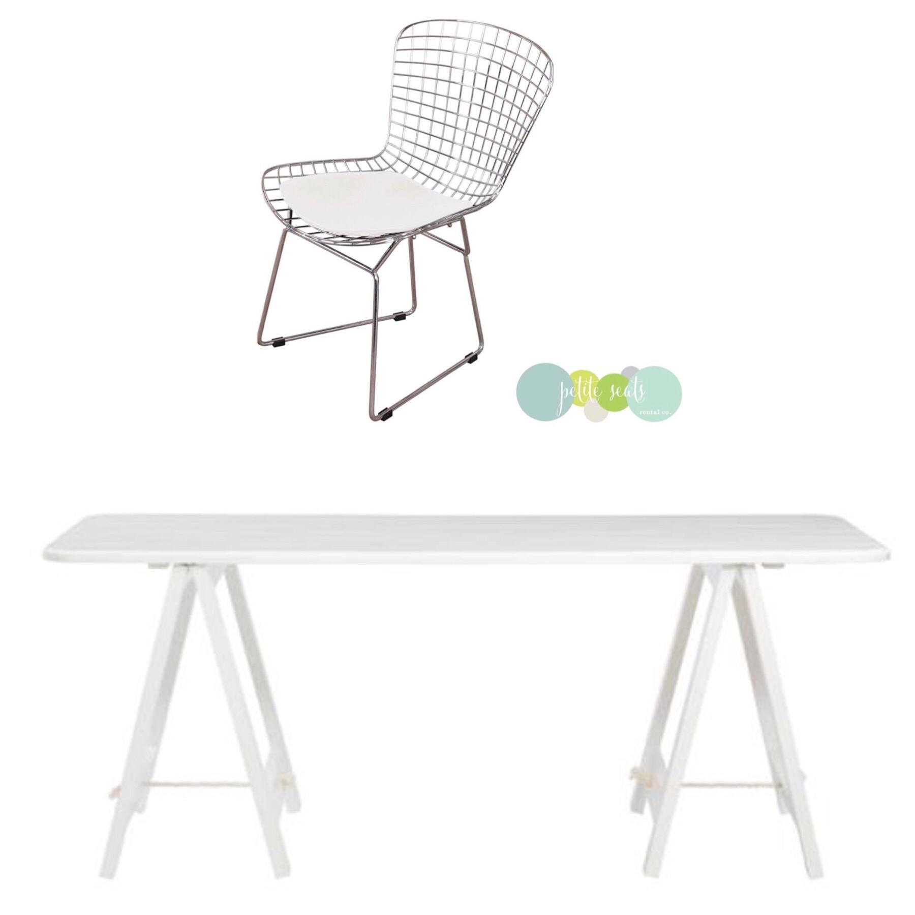 Trestle table +Bertoia Wire Chair