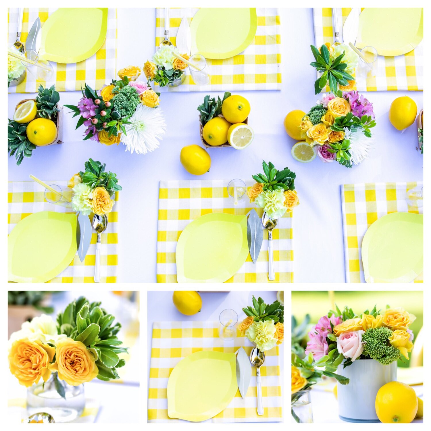 V styled each place setting with a yellow gingham cloth napkin as a place mat, as is her signature design element for kid's' tablescapes only one piece of cutlery was used.