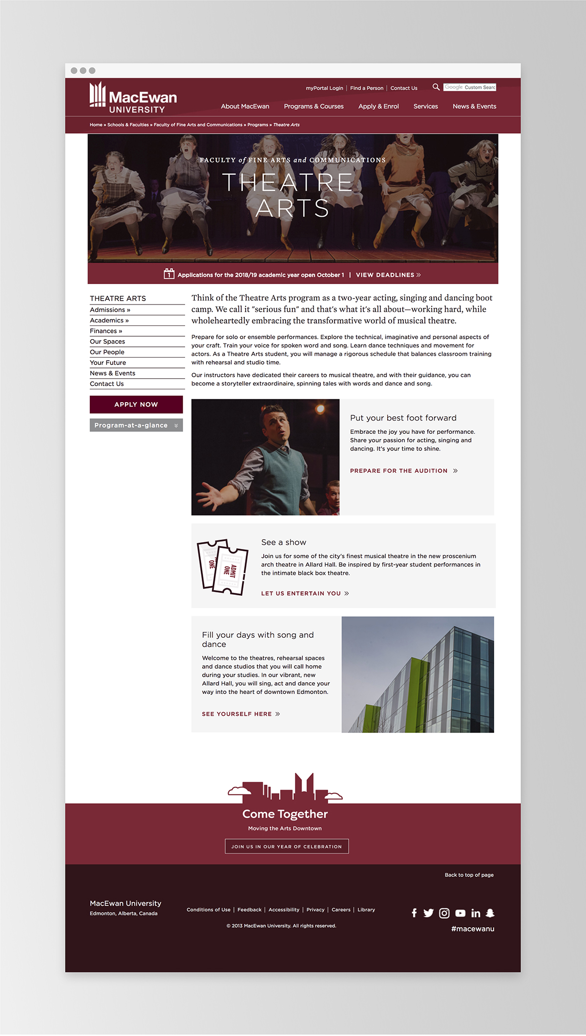 An example of the new MacEwan site template   MacEwan.ca/TheatreArts