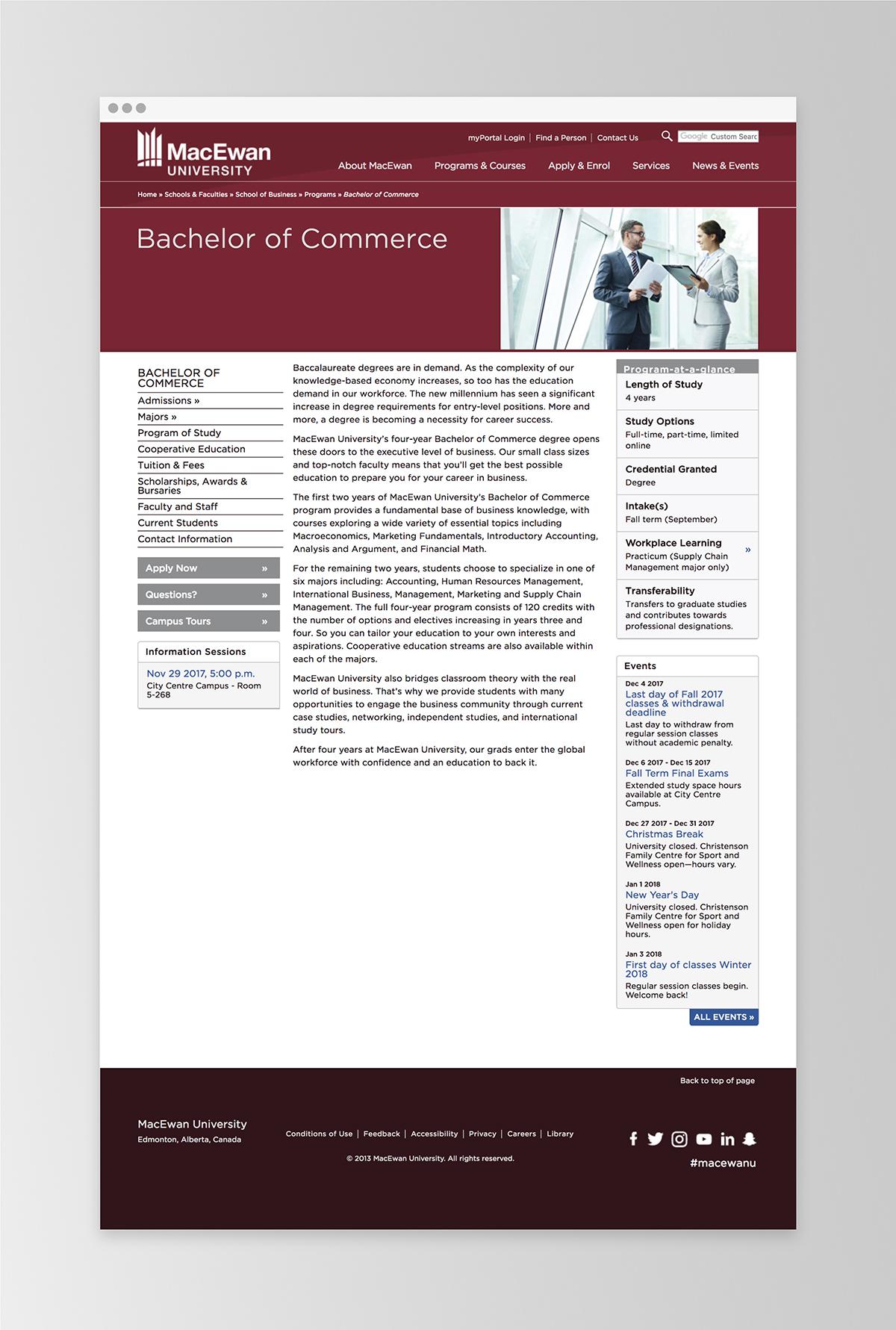 An example of the old MacEwan site template   MacEwan.ca/Commerce