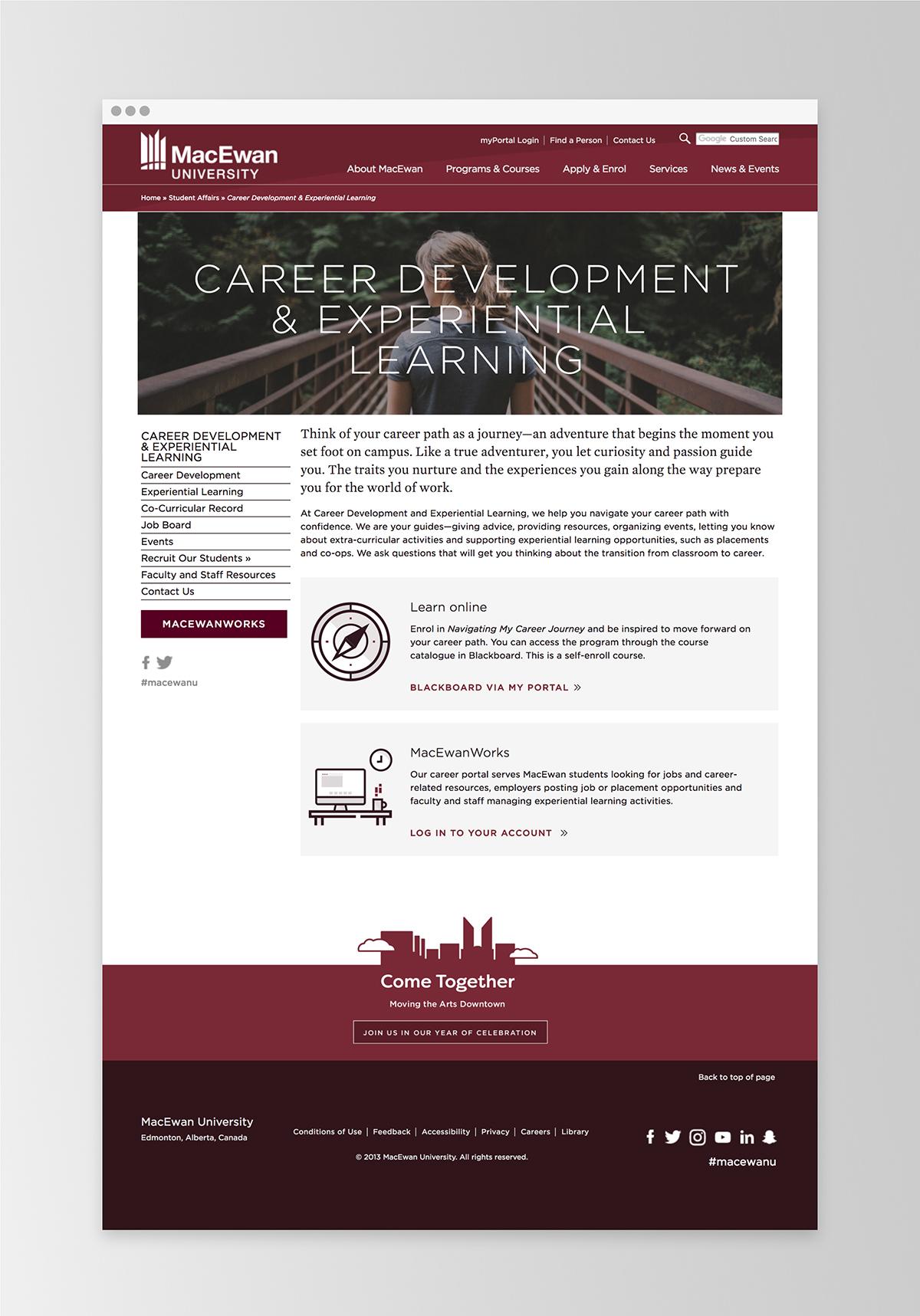 Career Development and Experiential Learning website |  MacEwan.ca/careers