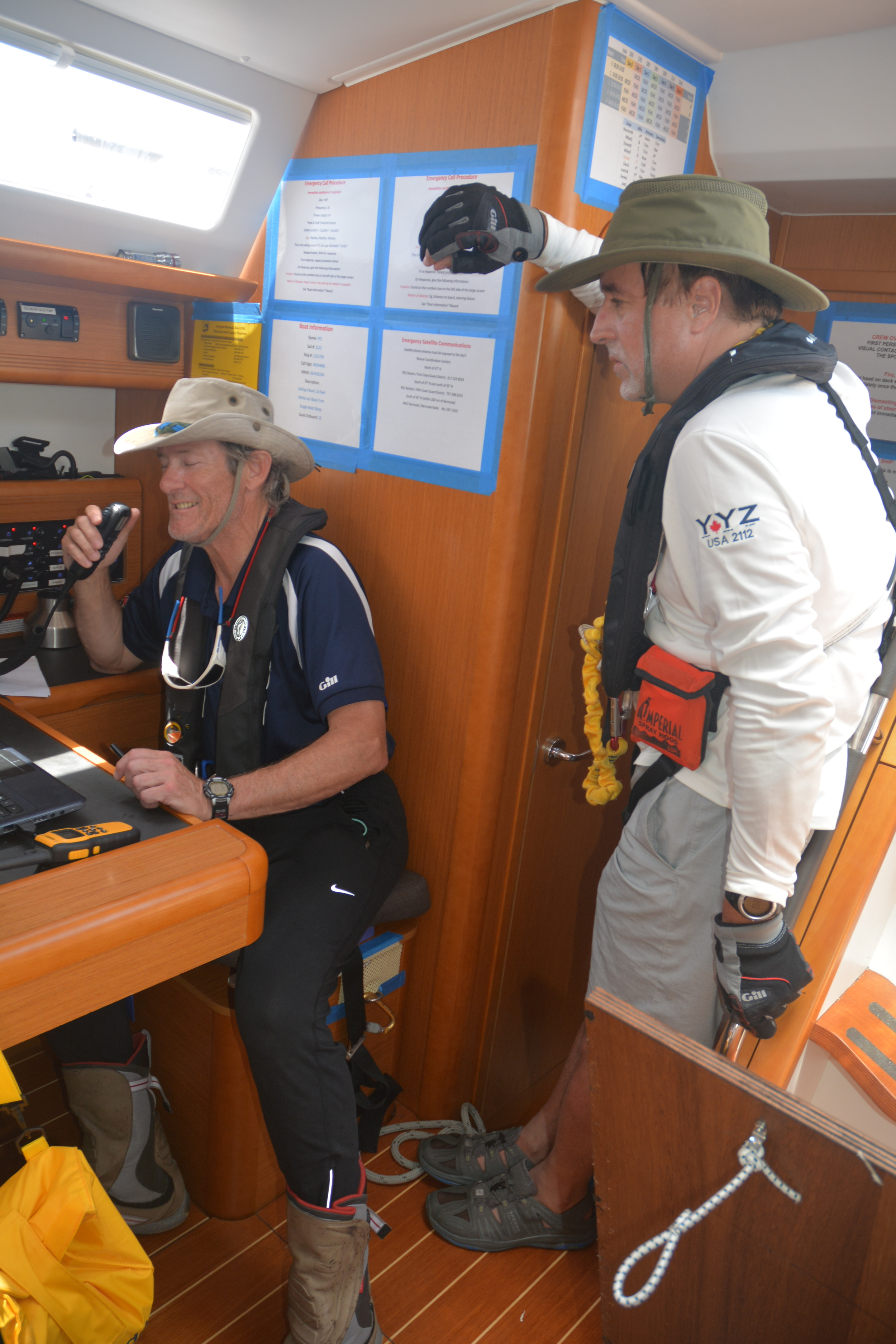 Navigator Brian O'Farrell and crewman Mike Galaty radioing in YYZ's finish