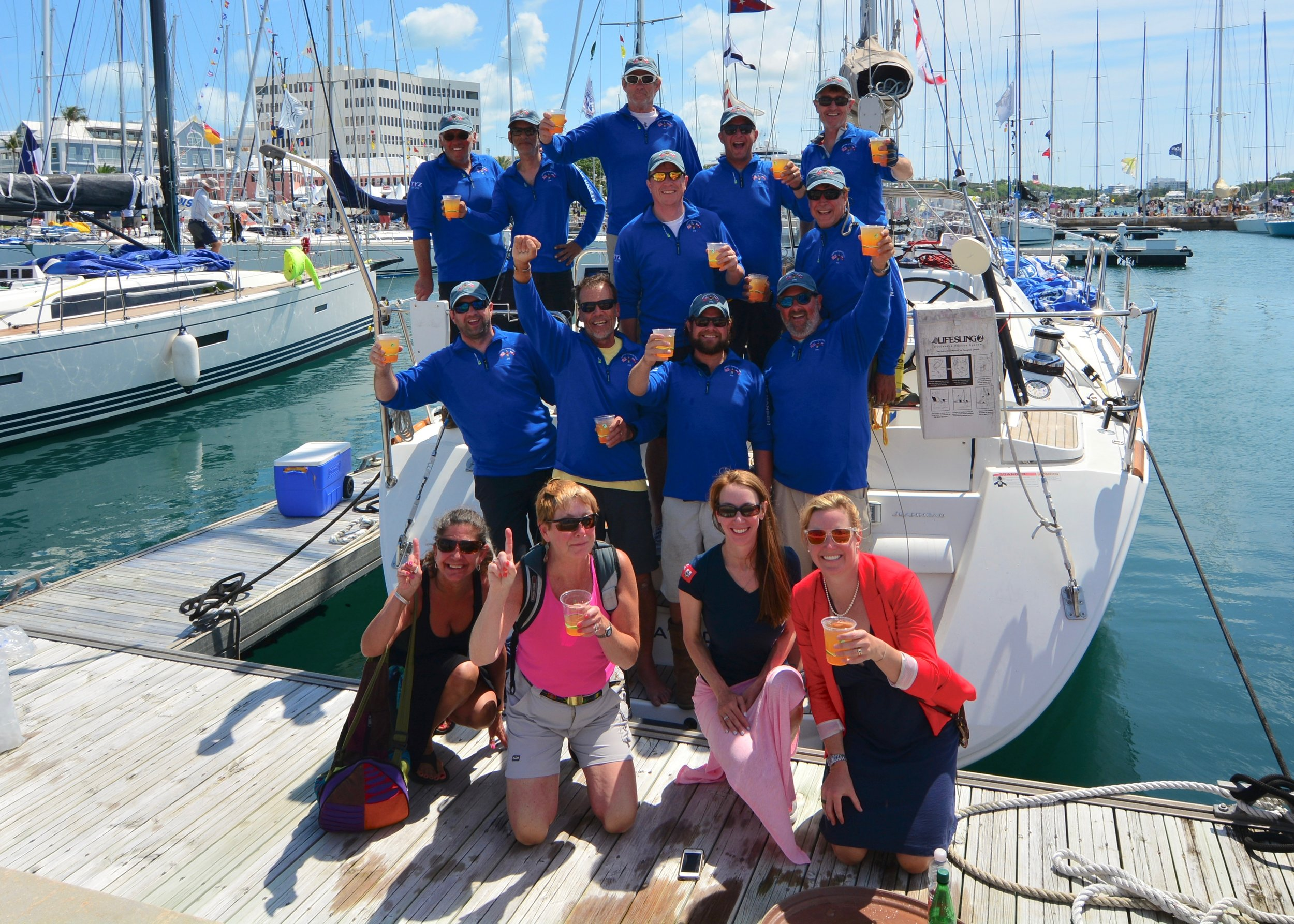 yyz Celebrates victory in the newport bermuda race