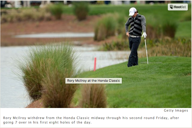 Rory McIlroy, walks off golf course