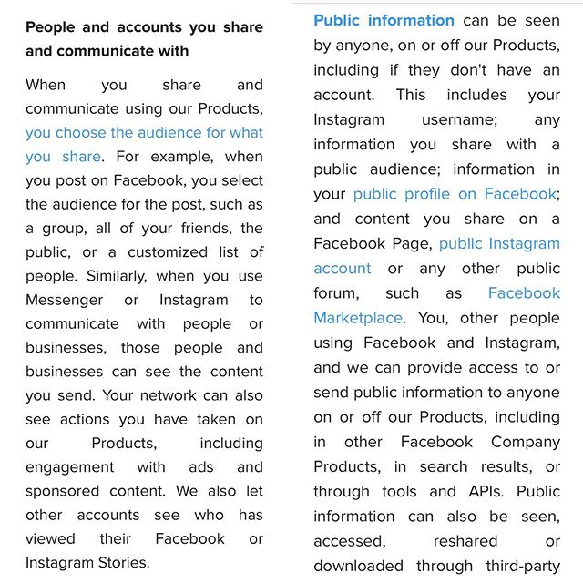 Actual terms from Instagram. Posting a disclaimer on your feed will not help you. In all seriousness, if you posted the recent viral disclaimer on your feed, you might want to consider deleting the app entirely. If you have a concern switch your account to private. Followers can still take screenshots and distribute your content if you are private (there might be legal action there, consult a lawyer). Long story short, if you don't want someone using your info or pictures, don't share that particular life moment on a public account.