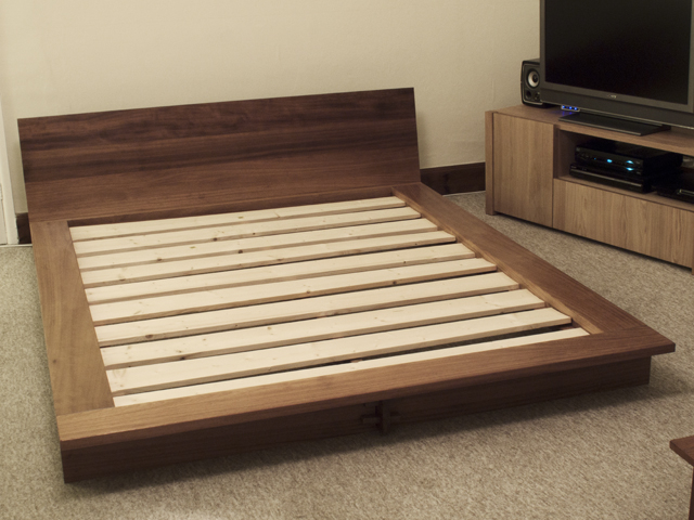 Iroko Platform Bed Bespoke Handmade Bedroom Furniture Brighton Sussex Tekton Carpentry Design
