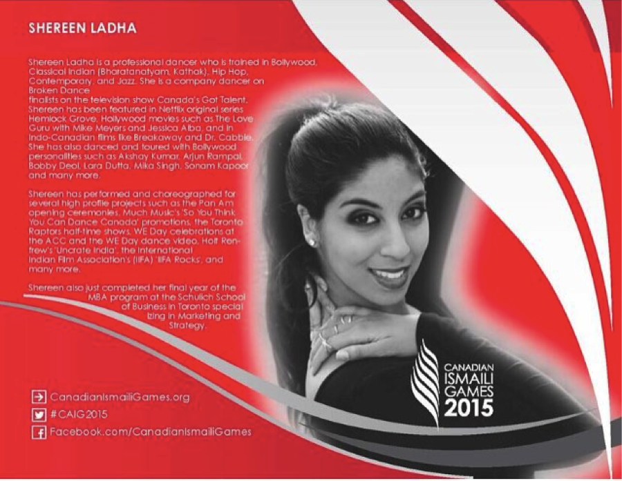 canadian ismaili games dance competition judge calgary bollywood shereen ladha