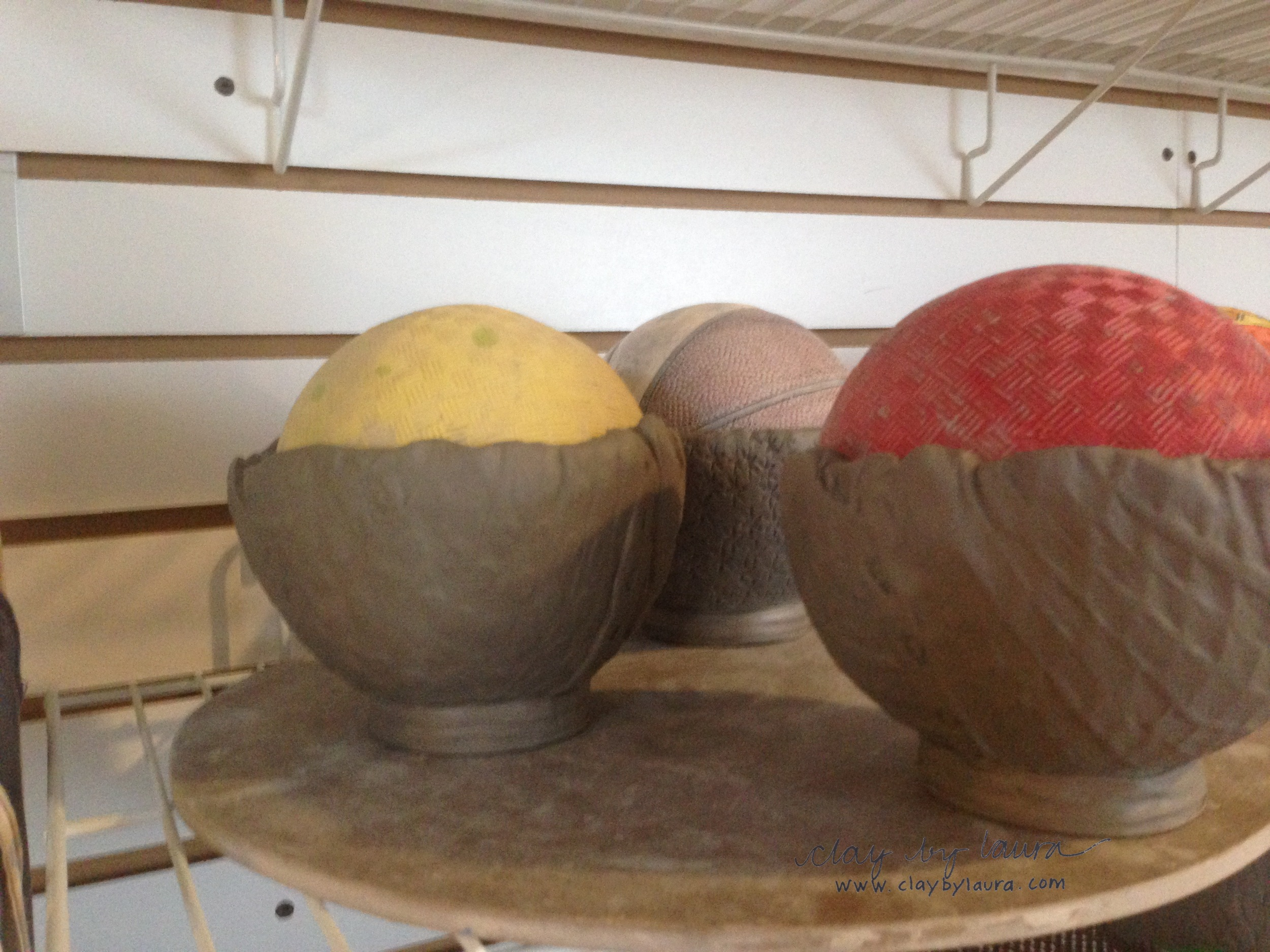 The bowls must dry and set up again before I can add to them.