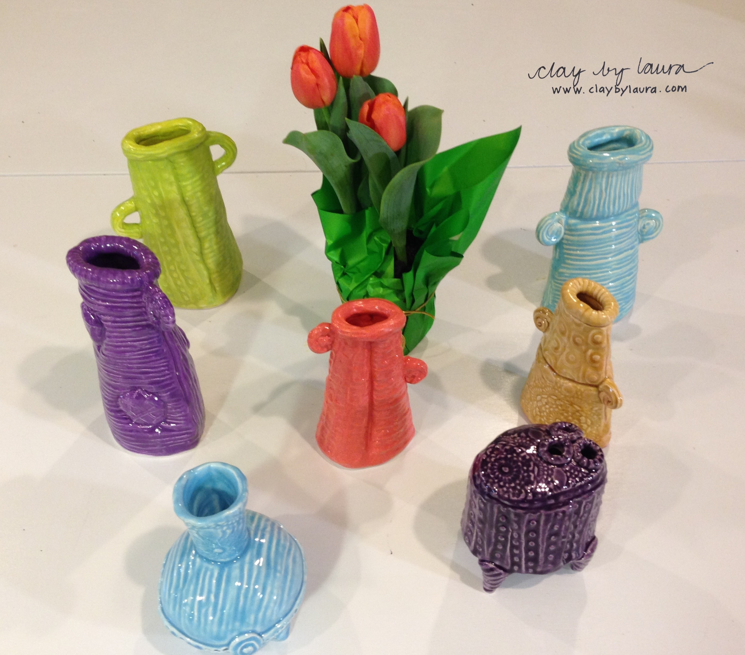 A colorful array of vases recently sprung from my studio!