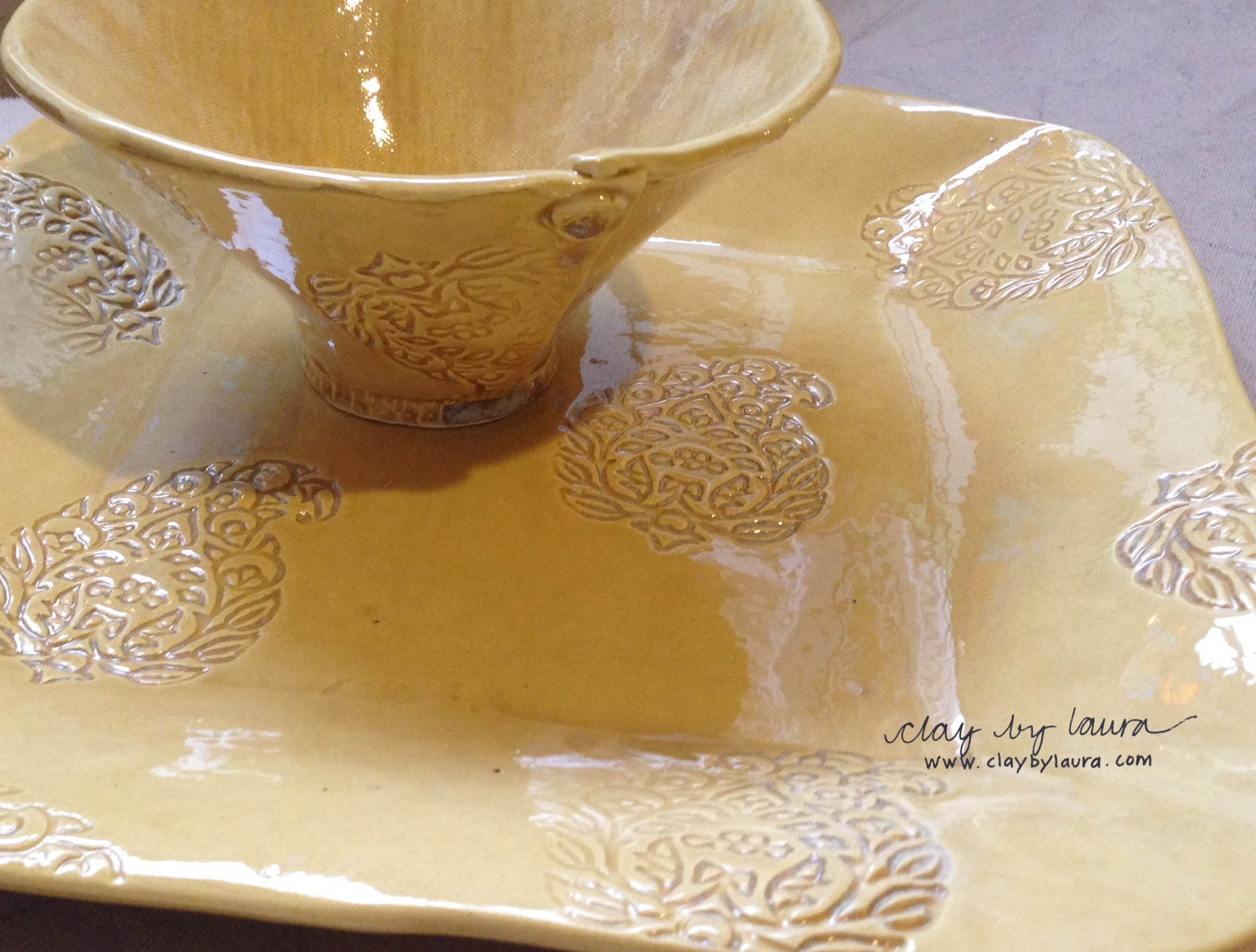 This custom bowl and square platter are ready for a wedding gift.