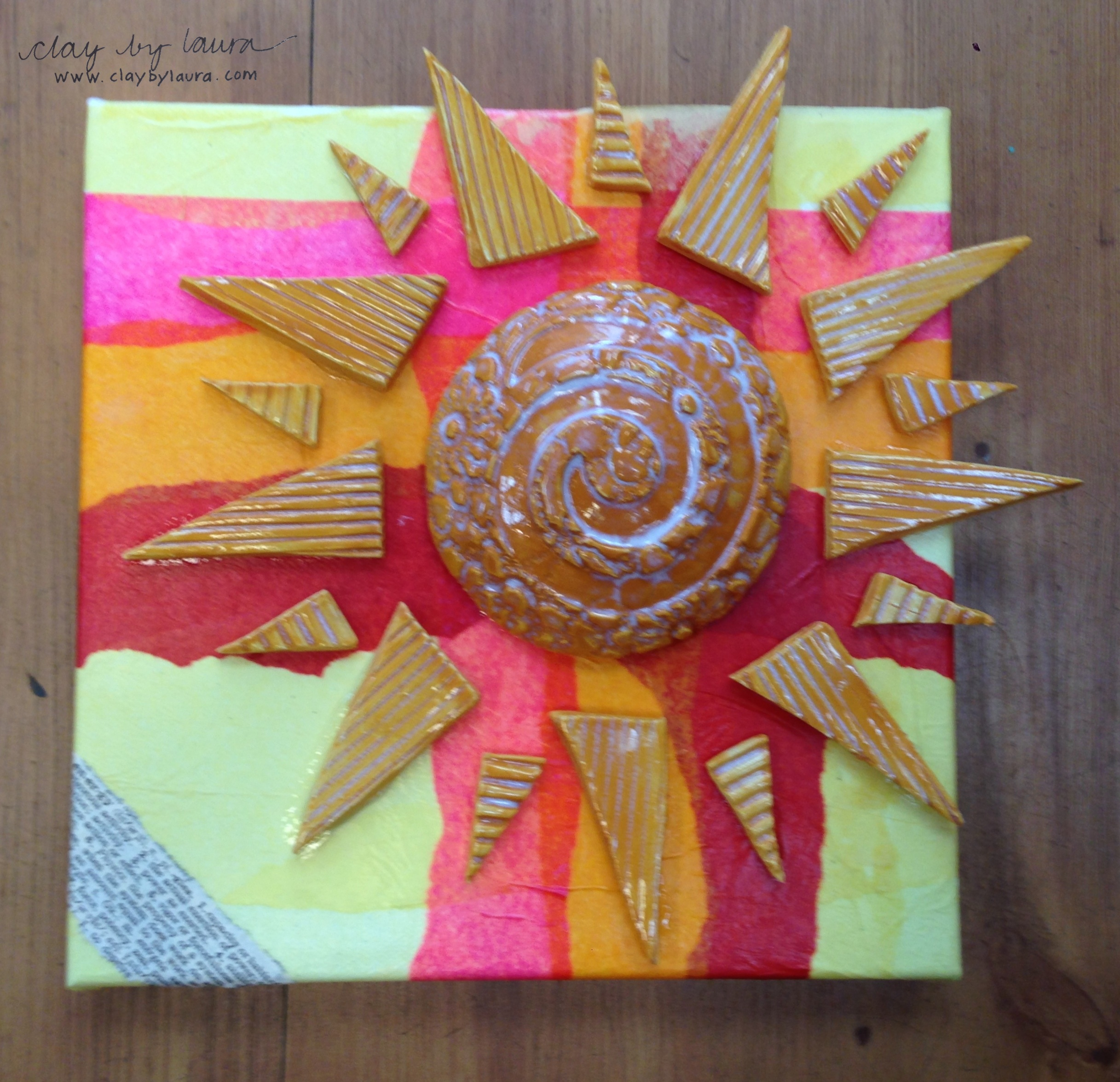 The sun represents endless energy to me. The finished artwork along with all the other artist donations is available at  The Muse  in Frederick, Md.
