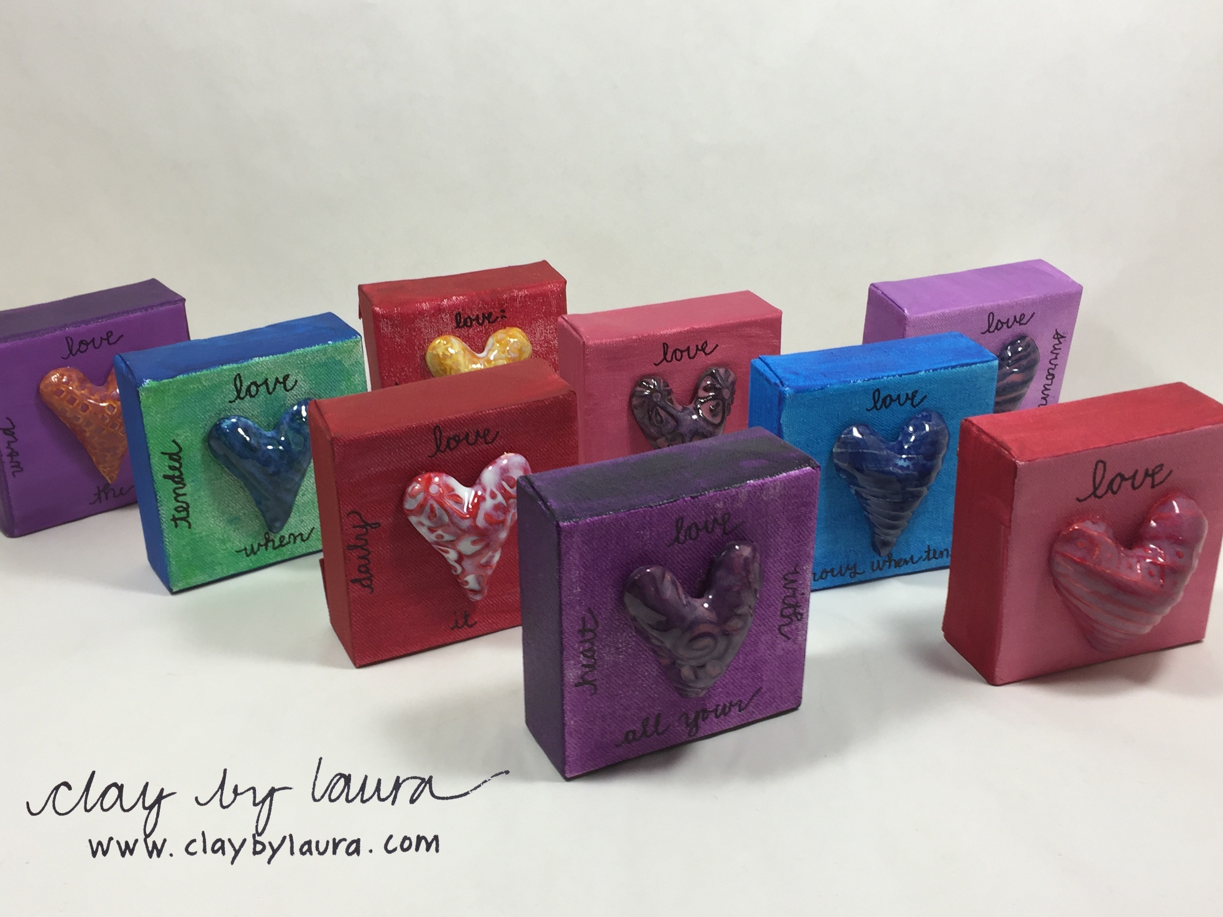 Spell out your message of love with one of these colorful Clay Hearts on Canvas. $42 well spent will send this creative artwork to your recipient.