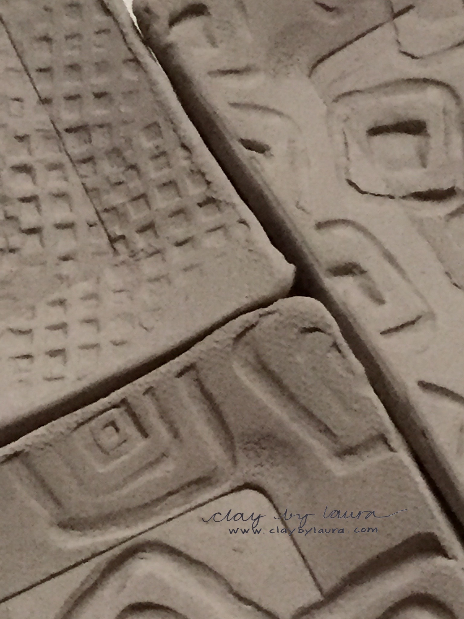 I often texture the clay in random patterns. Here are three examples of square images I've used on a small square dish.