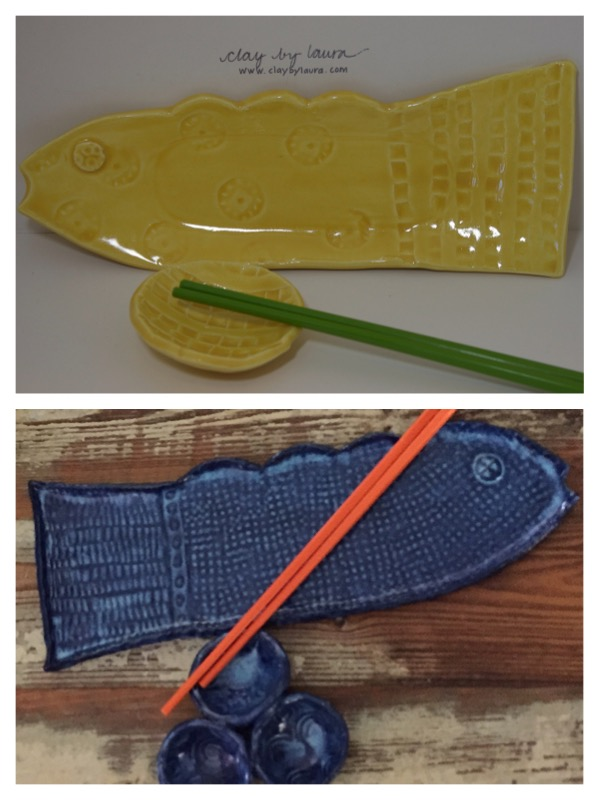 I've updated the fish-shaped sushitray and bowl set I originallymade from my Hilton Head, SC studio. The new design includes my use of two complementarycolors and a mini triple-bowl to hold a variety of dipping sauces.