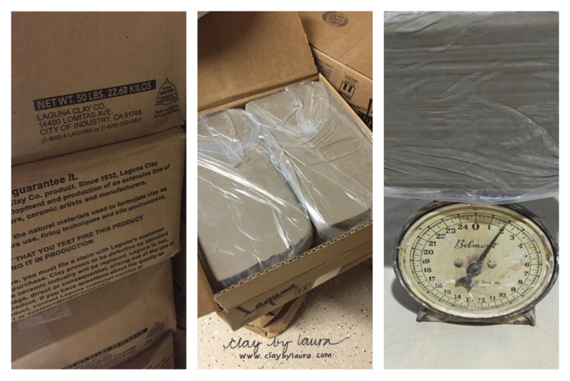 The clay-making cycle begins with a 50 pound box of clay.