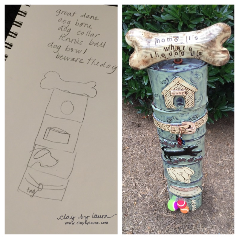 I met this customer many years ago in a dog training class, so this 'pooch' inspired totem was especially meaningful to create. My inspiration started with several ideas the customer suggested resulting in a final collaboration that brought us both to tears.