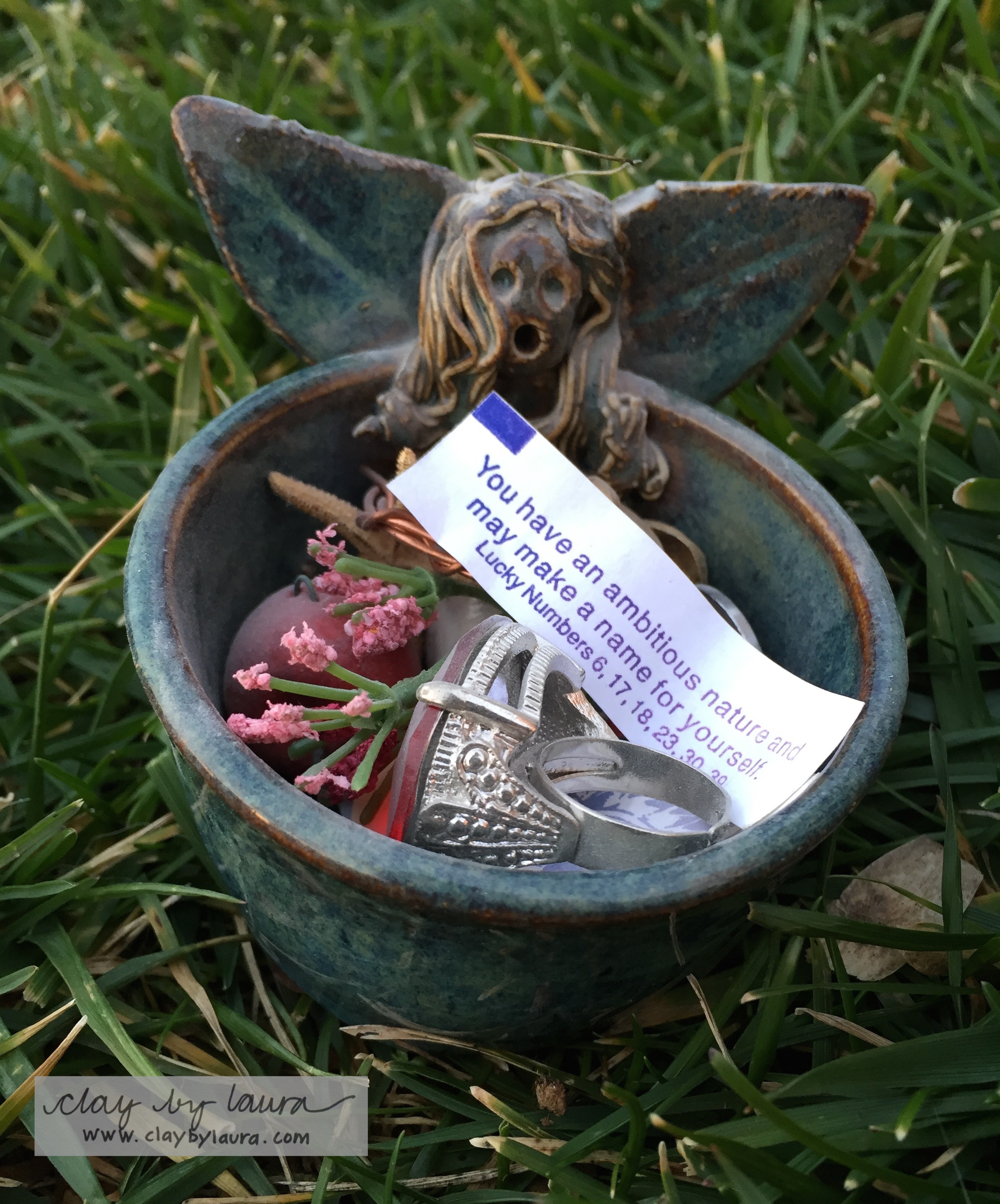 This little angel bowl holds small treasures from my life. I made it in 1994.