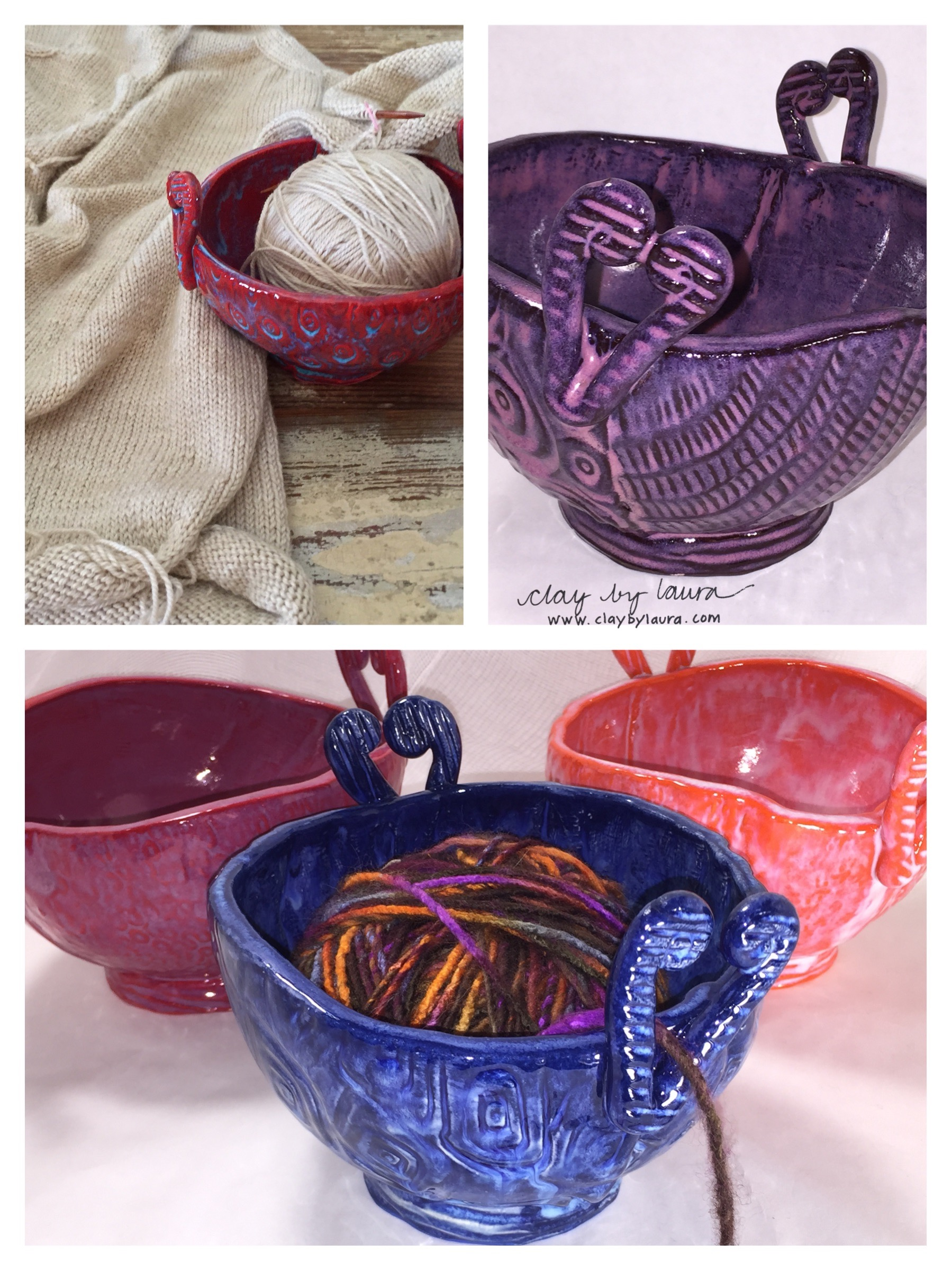 I've been catching up on some of my knitting projects these last few winter weeks. It's another passion I enjoy. I find it meditative and engaging at the same time. The unique design of my yarn bowls are based on my experience as a knitter. Most of the clay yarn bowls I've seen have a slit cut into them for guiding the yarn -- a design flaw in my opinion. My bowl shape cups the yarn, has two heart-shaped 'feeders' for multiple yarn colors and can be used for snacks or knitting accessories when not in use for stitching. In 2016, I'll work on a slightly larger version to fully accommodate two large hanks of yarn.