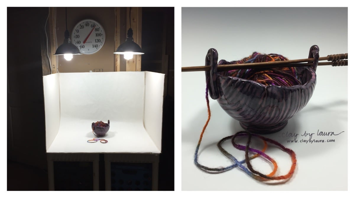 I've set up a lightbox in my kiln room to help standardize some of the product photos I take. I based this design on the suggestions of another successful potter who blogs about this sort of thing.