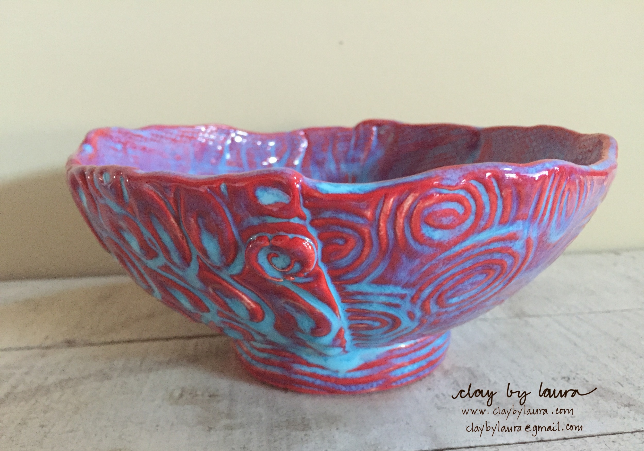 This color combination of Red underglaze and Bluebell glaze makes me happy. I reach for this bowl for my daily morning cereal or yogurt and granola!