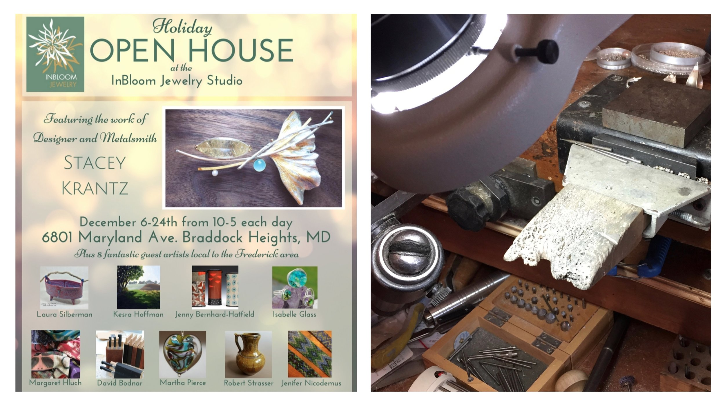 Take a drive to this Open Studio and you won't be disappointed!  Stacey Krantz  invited a wonderful mishmash of area artists to participate in her annual Open Studio including me. Not only is her fantastic workspace filled with her own amazing creations, there are gifts galore to satisfy a number of people on your holiday list. I've already shopped there myself and made note of some more I'd like to purchase. I'll be in Stacey's studio this coming weekend -- so I hope you'll stop in and say hello.