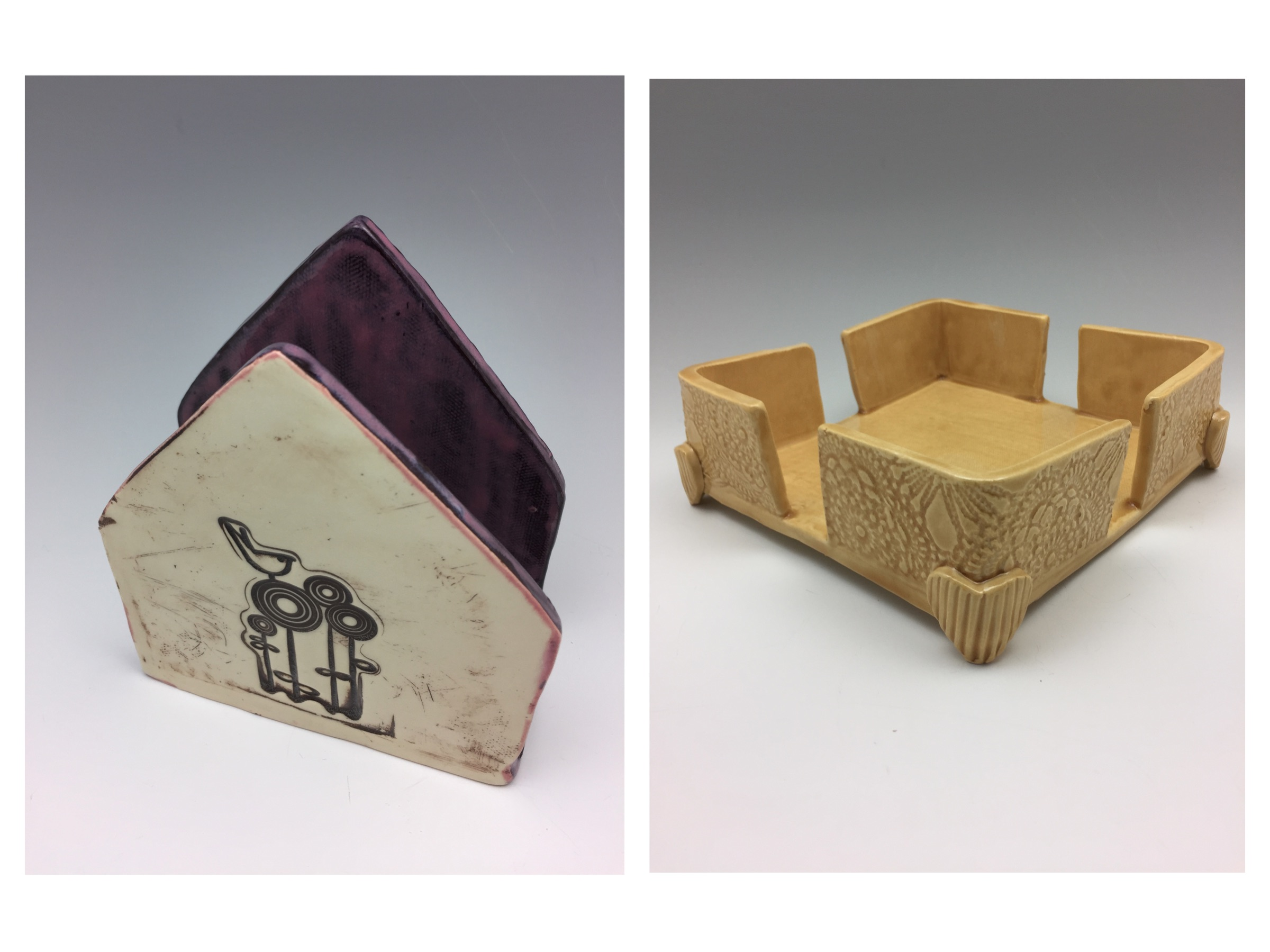 I was asked to make a napkin holder by a friend (one on the right) and decided to also try another shape (one on the left) too. I like both of these and am working on adding these shapes to my inventory. Do you use a napkin holder? Do you have a preference of shape or function? Click on this photo to tell me!