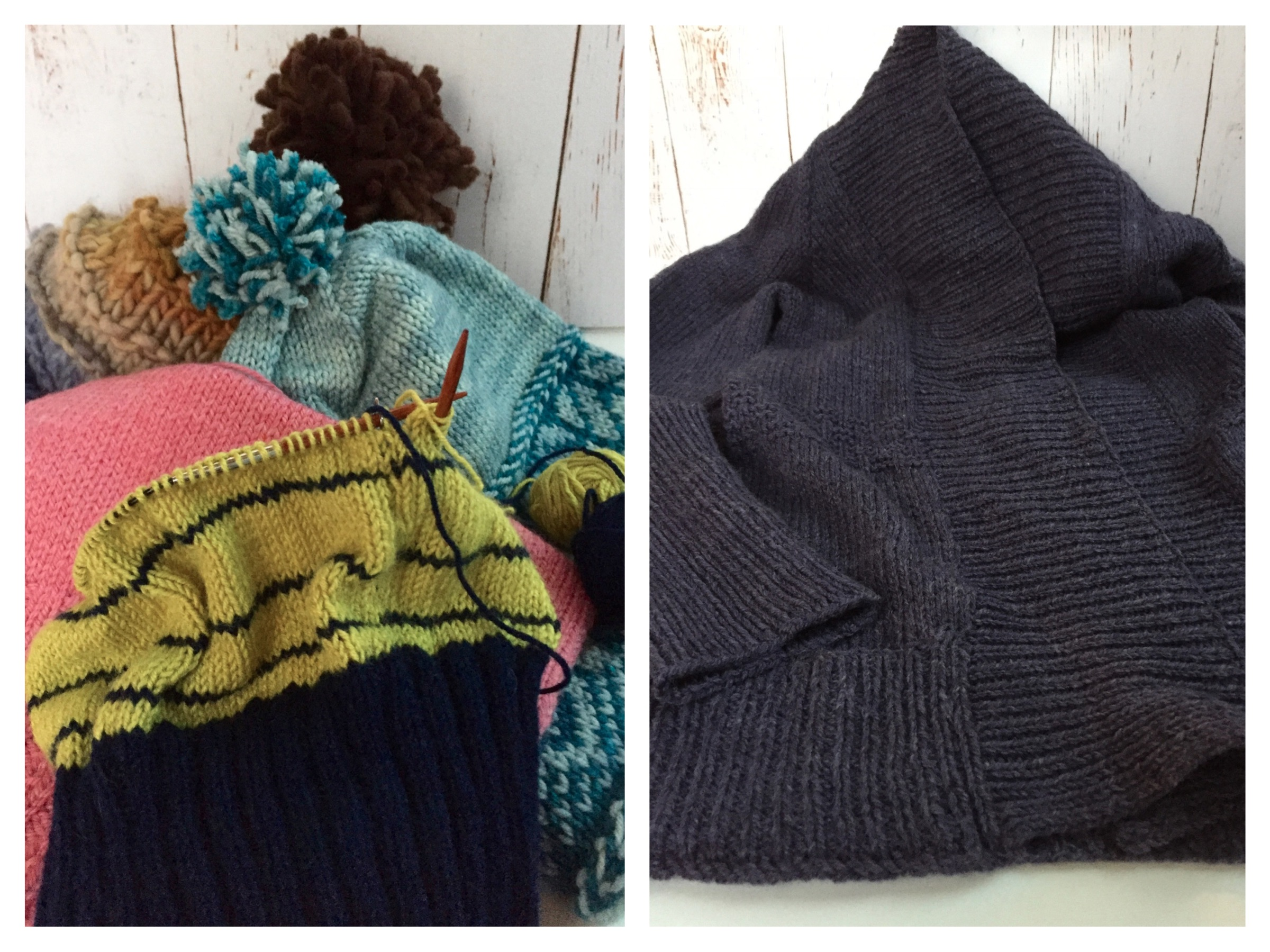 The good news is that I completed several knitting projects this week. Some of the hats (on the left) had been made and just need a final pom-pom or edge sewing. The sweater (on the right) was soaked and blocked to dry for its final step.