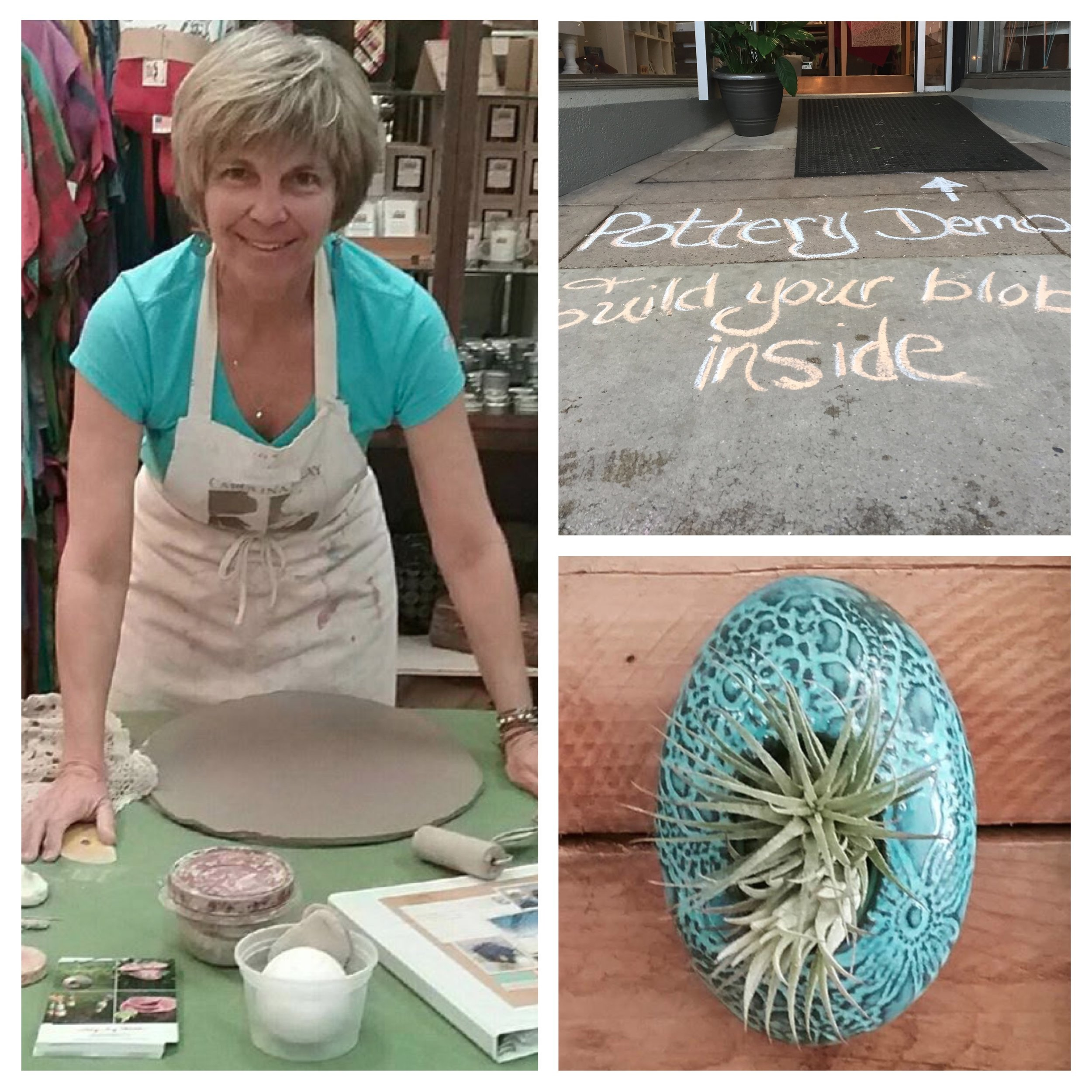 Saturday was an all-day/night affair at my favorite Frederick shop --  The Muse . The town hosts monthly First Saturday events. The Mayfest theme this month invited visitors to collect flowers at participating shops to build a bouquet as they meander. 'Blobs' (named because of their oval shape and ability to morph into several uses) were the featured clay item for the event! I demonstrated how these are made and had fun talking with a steady stream of customers.