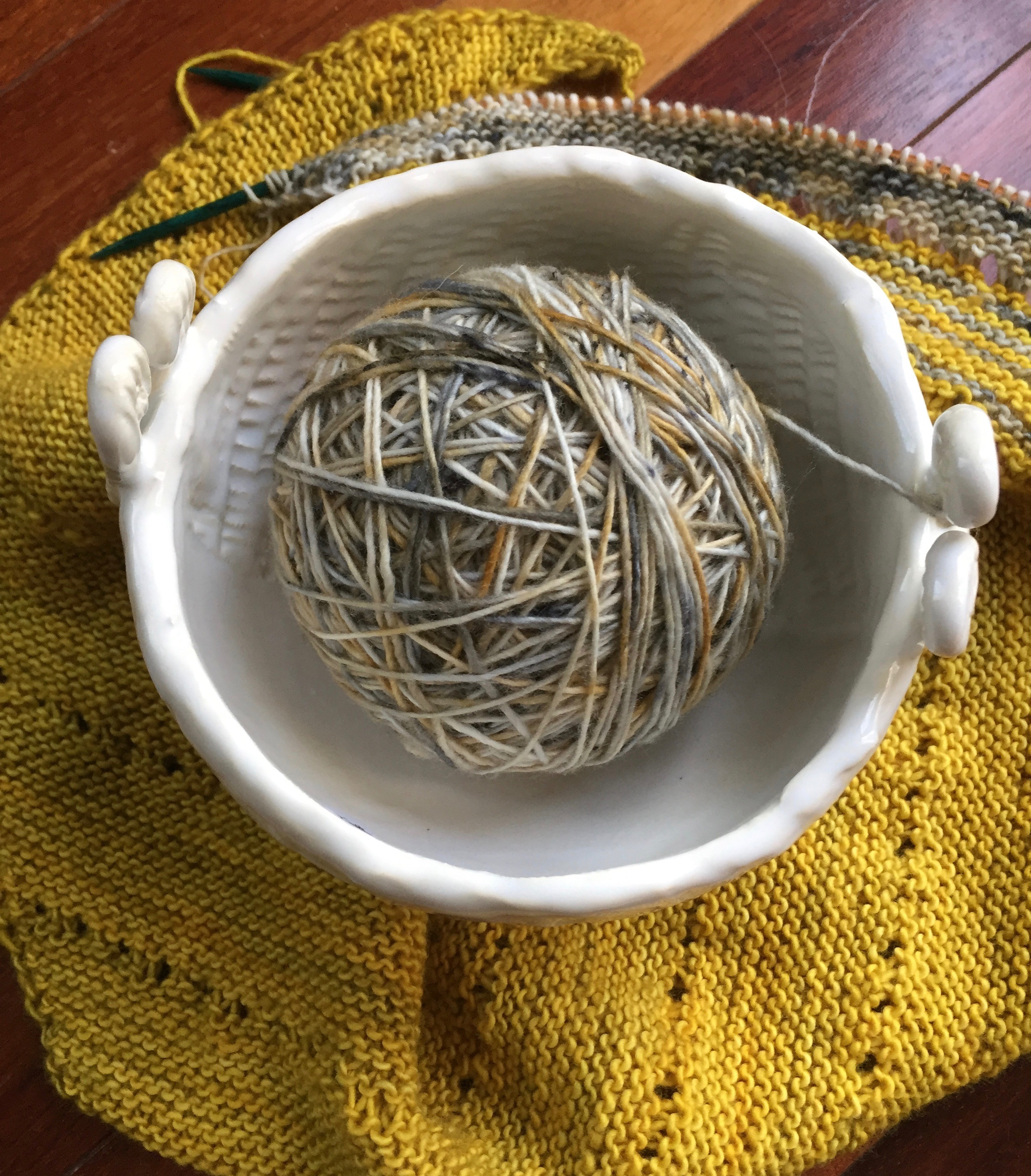 My current knitting project reflects the change of seasons. These fall-like colors for a warm winter wrap are what I'm stitching at the moment.