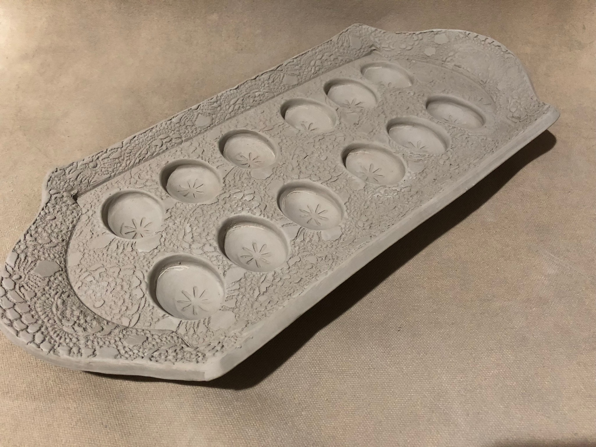 Once I get back to clay, I'll be working on this new egg tray design I created for a special customer. Is it an item you'd like to use too? Click on the photo to let me know or even share your favorite deviled egg recipe!