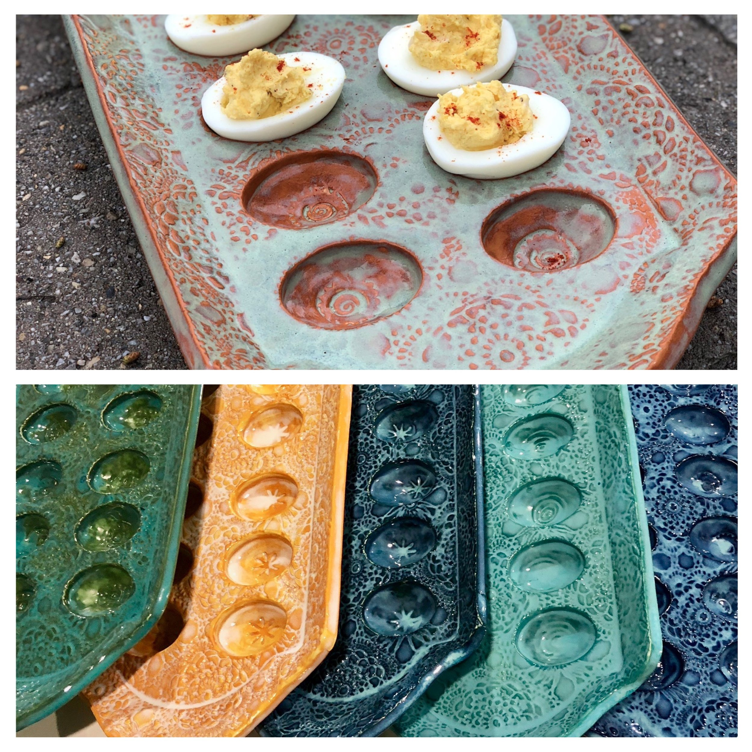 One of my new Huntsville, Alabama friends asked me to create a deviled egg tray. I fiddled around with a couple of designs before developing this shape. We are both really happy with the end result.