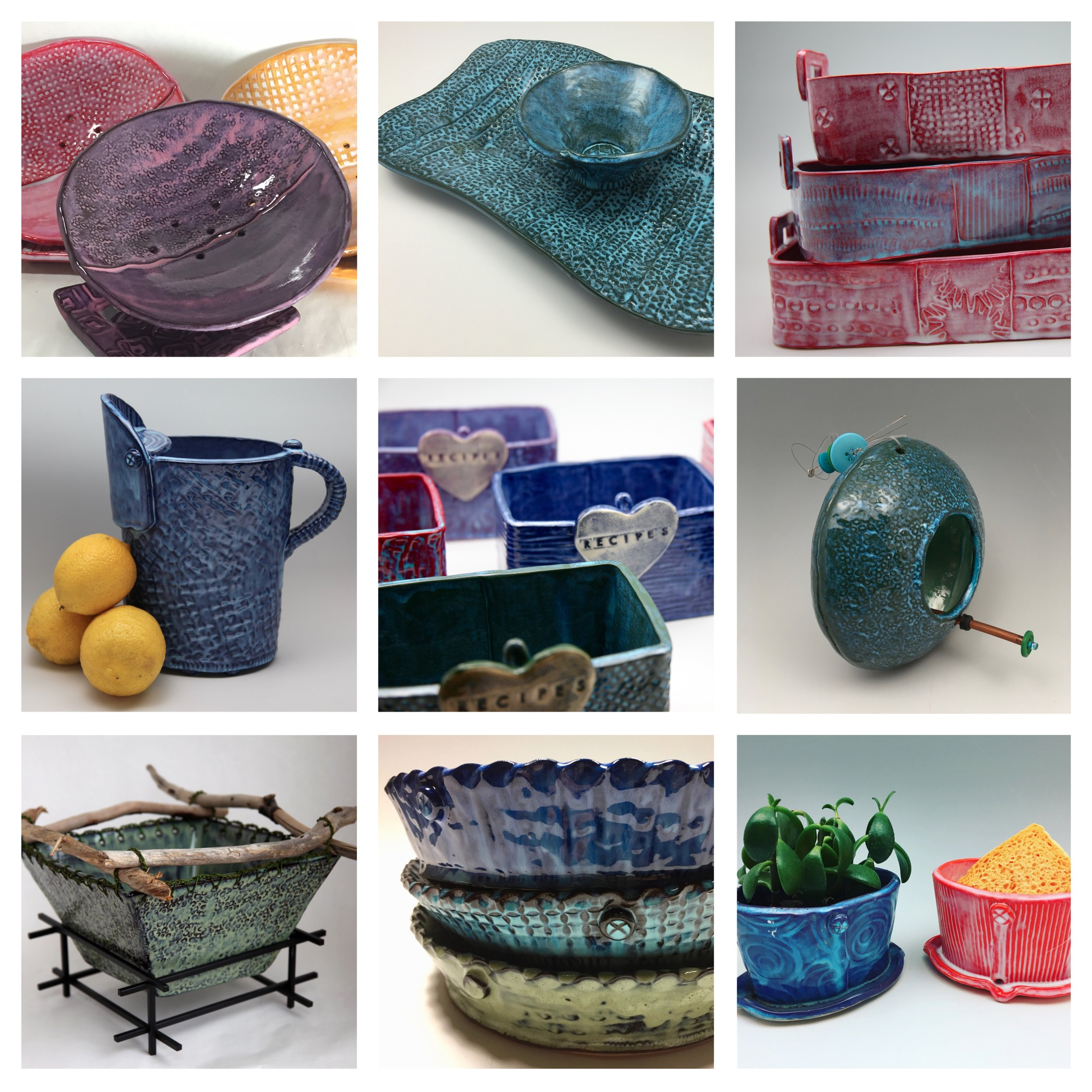 Here are some of the ClayByLaura pieces I've chosen to bring with me to Panoply.