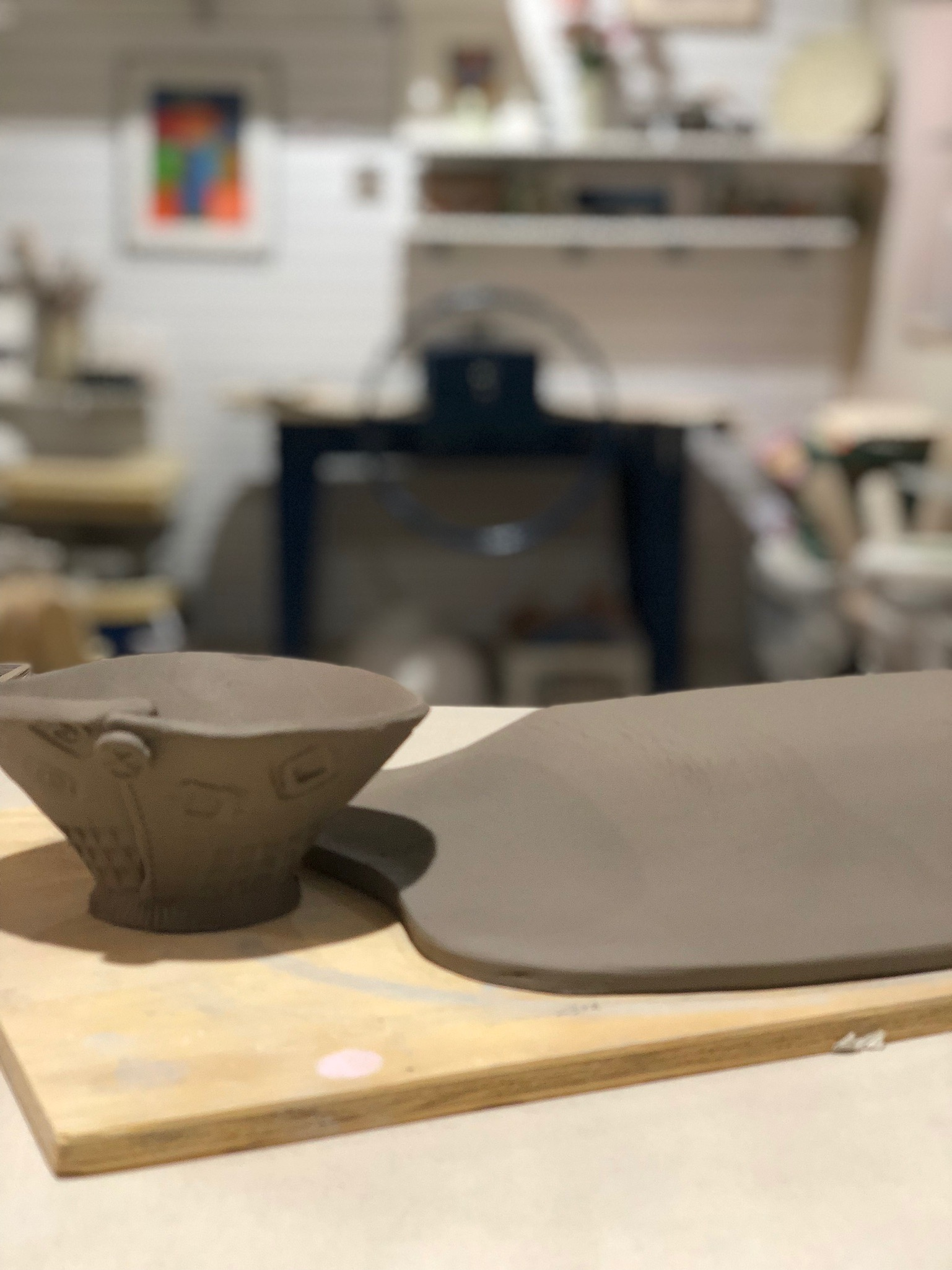 One of the first items I created with my North Star slab roller was a tray and bowl set. It remains one of my most popular items. The current design features matching texture elements on the bowl and tray.