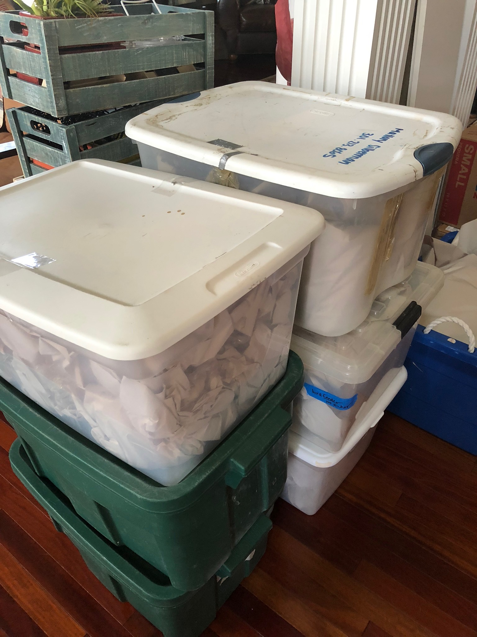 When you choose plastic, try to reuse it again and again! These bins have carried pottery to shows, supplies to my kid's colleges, and stored valuables in the basement.
