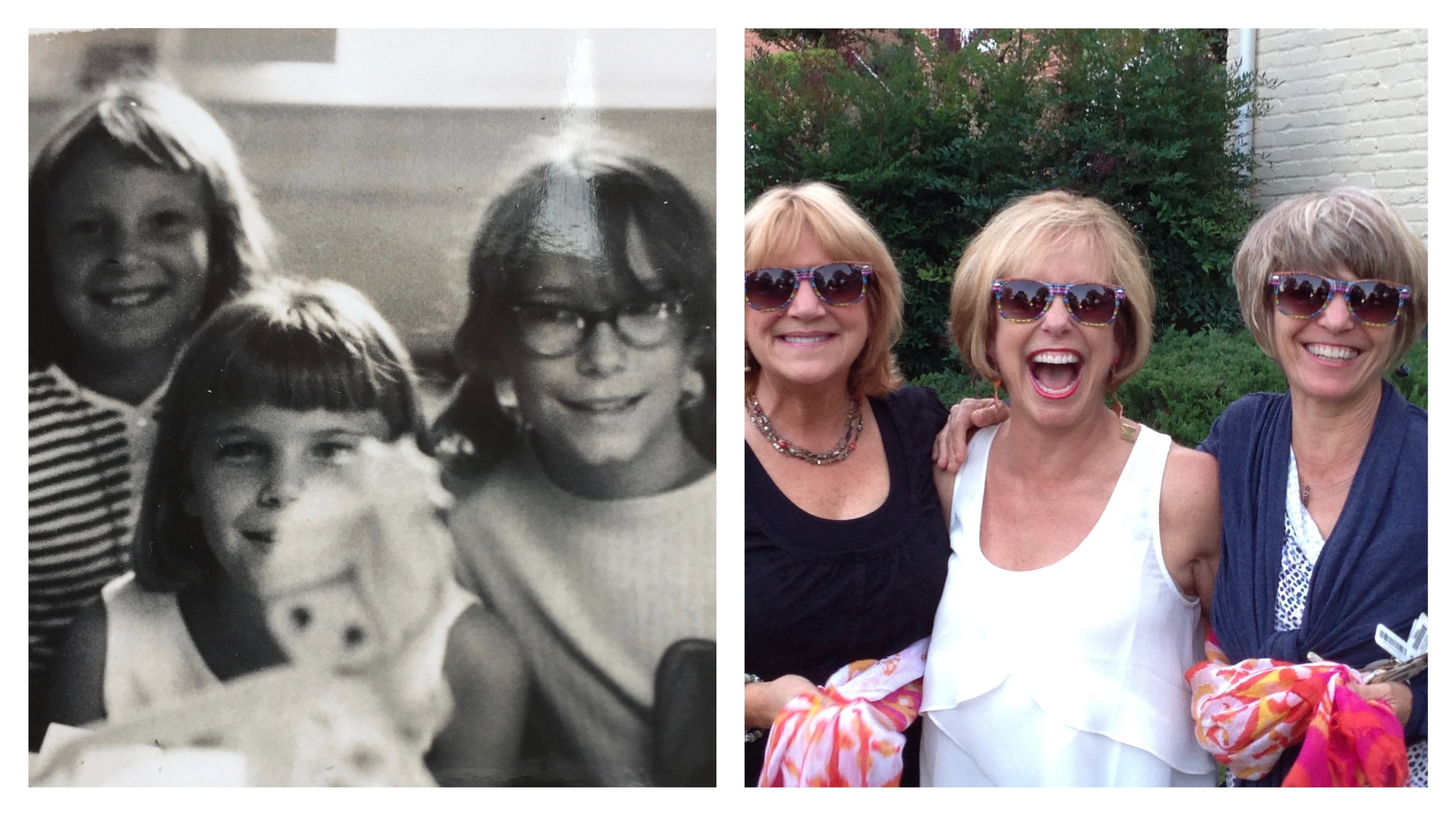 Then and now. Lots of laughter has been shared with these long-term friends! Back then, we listened to a record album of the Smothers Brothers over and over which repeatedly made us giggle!