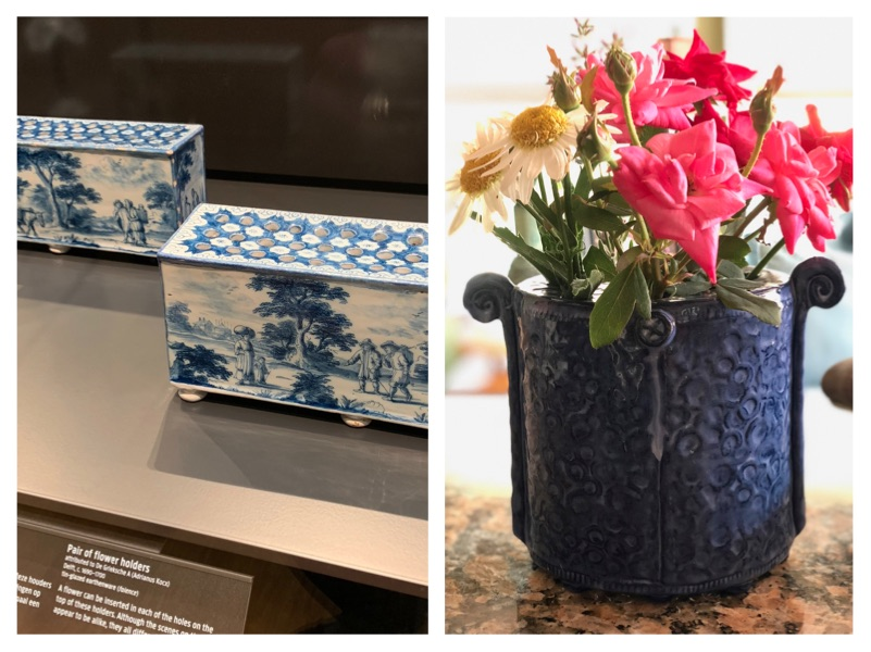 Visits to a museum prove that pottery shapes often have an historic reference. See the Delft flower blocks from the 1600s pictured on the left and then my current interpretation of the shape on the right.