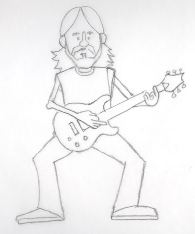 Tim, clean drawing on tracing paper ready to scan. Things like details on the guitar and t-shirt would be done in the computer later.