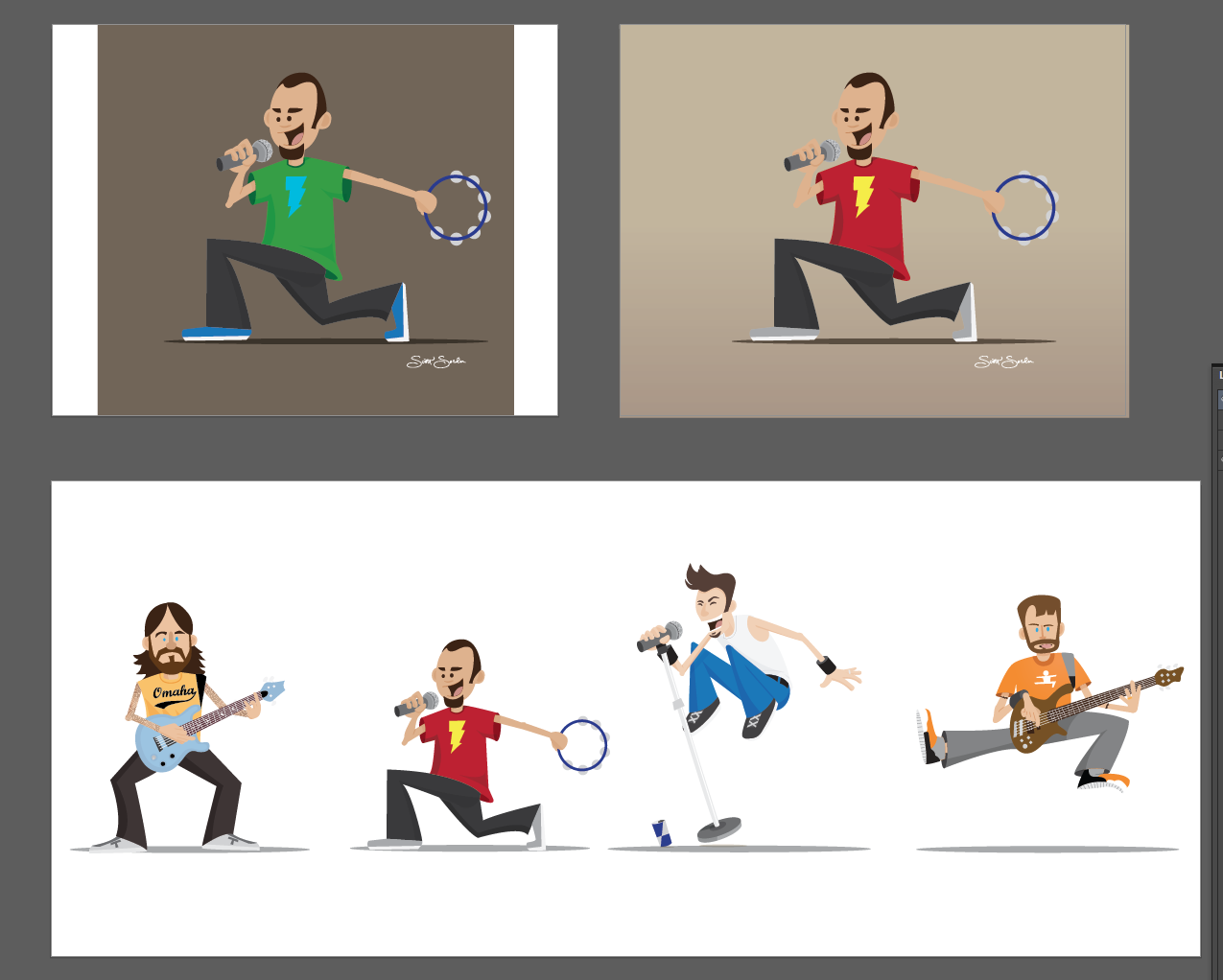 SA variations and testing the characters side by side for scale. Chad would want to bring his giant drum set so he is left out here. Drummer's curse.