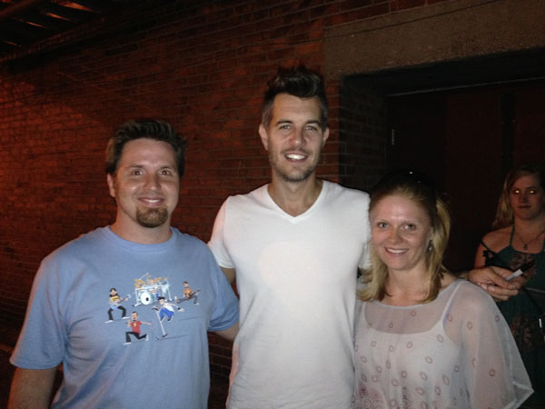 Me and my wife with Nick Hexum after the May 7 show in Louisville. I am wearing a prototype of the 311 Character summer tour 2014 shirt.