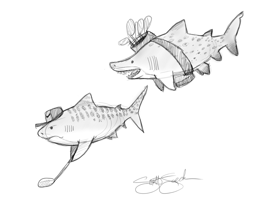 Digital sketch with Sketchbook pro. I always thought tiger sharks would be good golfers and sand tiger sharks excellent caddies.