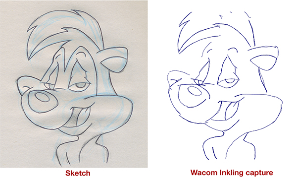 You can see here the actual sketch vs what the Inkling was able to capture.