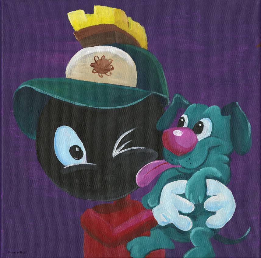My piece for the Chuck Jones Center for Creativity Red Dot Auction.  Boy Marvin and Pup K-9.