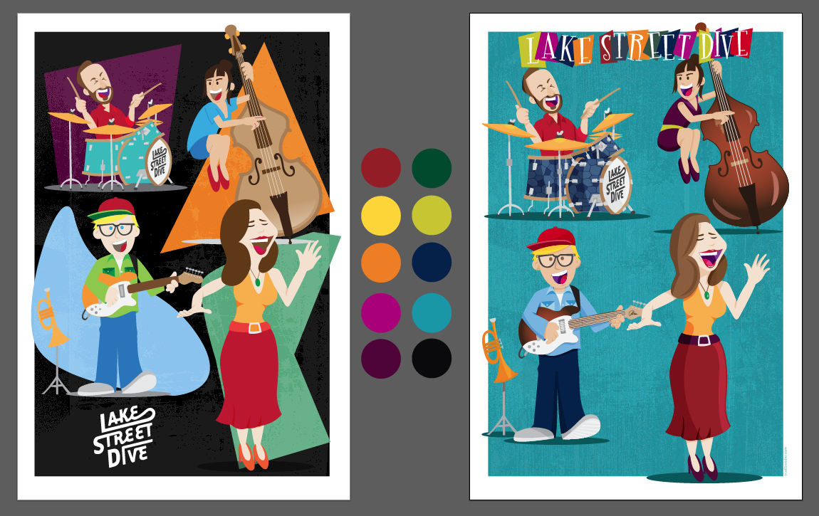 Decided on portrait orientation. Refining colors and layout.