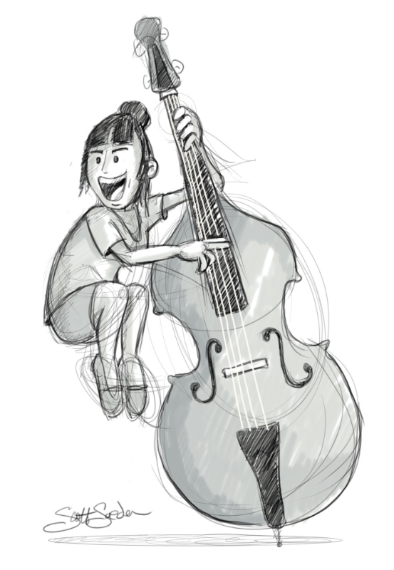 Quick warm of sketch of Bridget from Lake Street Dive. Done digitally with Sketchbook Pro and Wacom tablet.