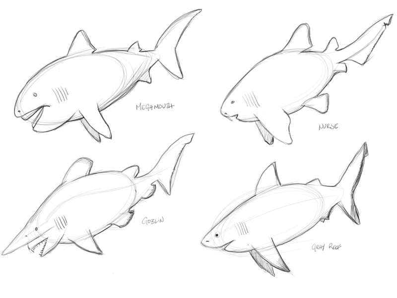 Shark sketches. You can see the elongated oval shape I used to design the sharks from in the sketch.