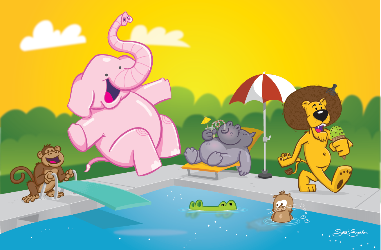 animal-swim-party