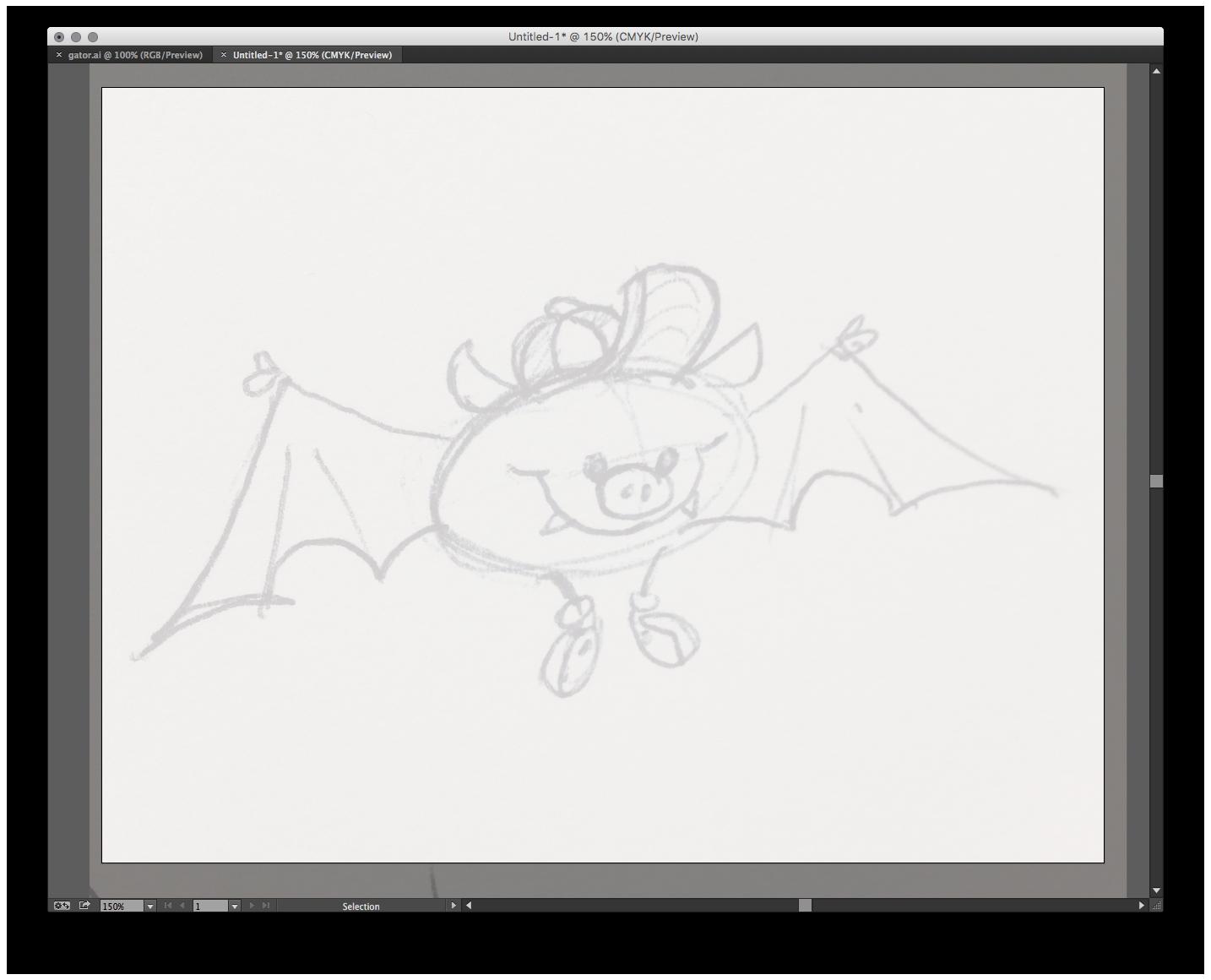 Sketch placed in Illustrator.