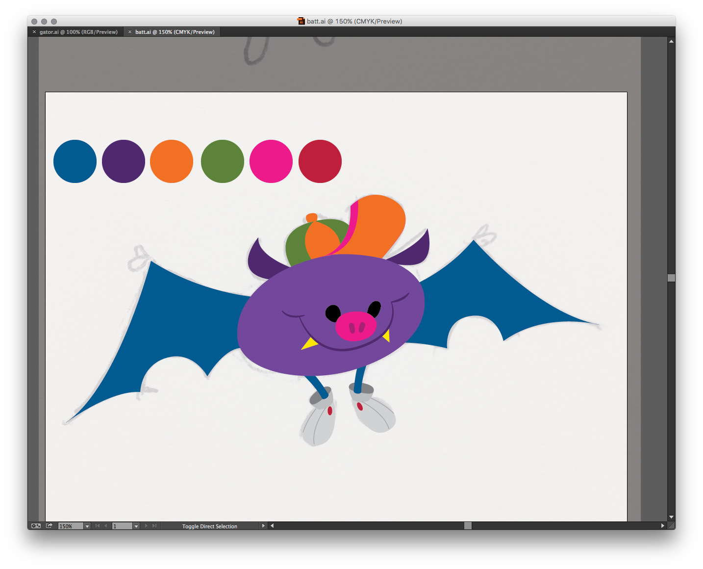 Rough colors applied to the shapes. Ready to take into Photoshop.