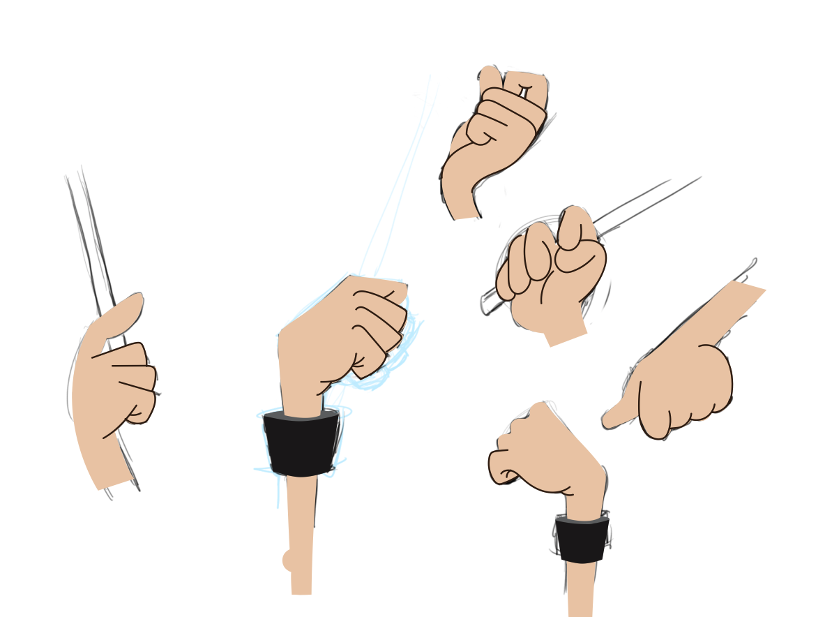 Some studies of hands holding drumsticks.